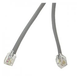 C2G (Cables To Go) - 09593 - C2G 50ft RJ11 6P4C Straight Modular Cable - RJ-11 Male - RJ-11 Male - 50ft - Satin Silver