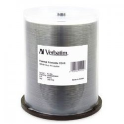 Verbatim / Smartdisk - 95254 - Verbatim CD-R 700MB 52X White Thermal Printable, Hub Printable - 100pk Spindle - 700MB - 100 Pack