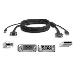 Belkin / Linksys - F3X1962B10 - Belkin OmniView All-In-One Pro Series Plus - Video / USB cable - HD-15, USB Type B to USB, HD-15 (M) - 10 ft - molded - B2B - for P/N: F1DN102U, F1DN104U, F1DN108U