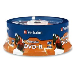 Verbatim / Smartdisk - 96191 - Verbatim DVD-R 4.7GB 16X White Inkjet Printable, Hub Printable - 25pk Spindle - 120mm - Single-layer Layers - Printable - Inkjet Printable - 2 Hour Maximum Recording Time