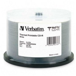 Verbatim / Smartdisk - 94738 - Verbatim MediDisc CD-R 700MB 52X White Thermal Printable with Branded Hub - 50pk Spindle - Thermal Printable