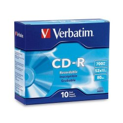 Verbatim / Smartdisk - 94760 - Verbatim AZO CD-R 700MB 52X DataLifePlus with Branded Surface - 10pk Slim Case - 120mm - 1.33 Hour Maximum Recording Time