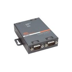 Lantronix - UD2100002-01 - Lantronix 2 Port Serial (RS232/ RS422/ RS485) to IP Ethernet Device Server - International 110-240 VAC - Convert from RS-232; RS-485 to Ethernet using Serial over IP technology; Wall Mountable; Rail Mountable; Two DB-9 Serial