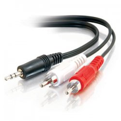 "C2G (Cables To Go) - 40421 - C2G 6in Value Series One 3.5mm Stereo Male To Two RCA Stereo Male Y-Cable - Mini-phone Male Stereo - RCA Male Stereo - 6"" - Black"