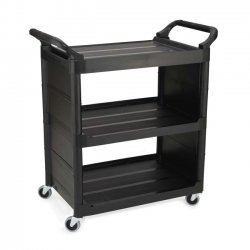 "Rubbermaid - 342100-BK - Rubbermaid Utility Cart - 3 Shelf - 150 lb Capacity - 4"" Caster Size - Plastic - 33.6"" Width x 18"" Depth x 36.6"" Height - Black"