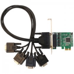 SIIG - ID-E40011-S1 - SIIG 4-port Multiport Serial Adapter - PCI Express - 4 x DB-9 Male RS-232 Serial Via Cable - Plug-in Card - Retail