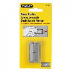 "Stanley / Black & Decker - 28-510 - Stanley 1 1/2"" X .009"" High Carbon Steel Single Edge Razor Blade (For Use With Stanley 28-100 And 28-500 Scrapers) (10 Per Box)"