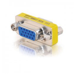 C2G (Cables To Go) - 18962 - C2G HD15 VGA F/F Mini Gender Changer (Coupler) - 1 x HD-15 Female - 1 x DB-15 Female - Silver, Yellow
