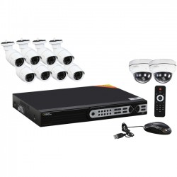 Q-See - QT8616-10Z8 - Q-see 16-Channel H.264 NVR with (10) 3MP Cameras with NO Hard Drive - Network Video Recorder, Camera - H.264 Formats