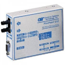 Omnitron - 4485-1 - FlexPoint RS-232 Serial Fiber Media Converter DB-9 ST Single-mode 30km - 1 x RS-232; 1 x ST Single-mode; US AC Powered; Lifetime Warranty