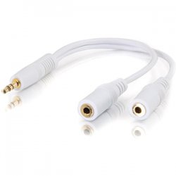 "C2G (Cables To Go) - 35506 - C2G Value Series Audio Y-cable - Mini-phone Male - Mini-phone Female - 6"" - White"