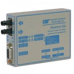Omnitron - 4480-0 - FlexPoint RS-232 Serial Fiber Media Converter DB-9 SC Multimode 2.5km - 1 x RS-232; 1 x SC Multimode; No Power Adapter; Lifetime Warranty
