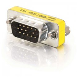 C2G (Cables To Go) - 20686 - C2G HD15 VGA M/M Mini Gender Changer (Coupler) - 1 x HD-15 Male - 1 x HD-15 Male - Silver, Yellow