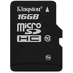 Kingston - SDC10/16GB - 16GB SDC10/16GB microSD High Capacity (microSDHC) Card - Class 10