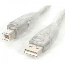 StarTech - USB2HAB6T - StarTech.com 6 ft Transparent USB 2.0 Cable - A to B - Type A Male - Type B Male - 6ft