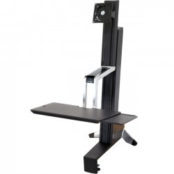 Ergotron - 33-344-200 - Ergotron WorkFit-S 33-344-200 Display Stand - 35 lb Load Capacity - Steel, Plastic, Aluminum - Black