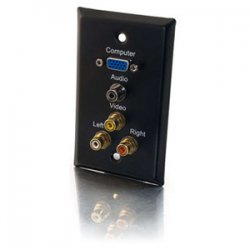 C2G (Cables To Go) - 40483 - C2G Single Gang HD15 VGA + 3.5mm + Composite Video + Stereo Audio Wall Plate - Black - 1-gang - Black