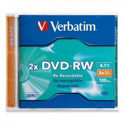Verbatim / Smartdisk - 94501 - Verbatim 94501 DVD Rewritable Media - DVD-RW - 2x - 4.70 GB - 1 Pack Jewel Case - 2 Hour Maximum Recording Time
