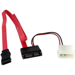 StarTech - SLSATAF20RA - StarTech.com 20in Right Angle Slimline SATA to SATA w/ LP4 Power Cable - Female SATA - Female SATA
