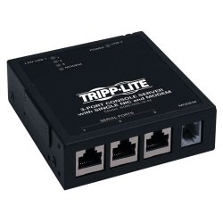 Tripp Lite - B095-003-1E-M - Tripp Lite 3-Port IP Serial Console Server Terminal Server w/ Built in Modem TAA GSA - Twisted Pair - 1 x Network (RJ-45) - 1 x USB - Phone Line (RJ-11) - 10/100Base-TX - Fast Ethernet - TAA Compliant