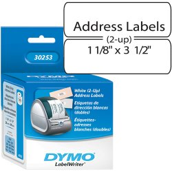 DYMO - 30253 - Dymo Address Labels - 1 1/8 Width x 3 1/2 Length - Direct Thermal - White - 700 / Roll - 700 / Each