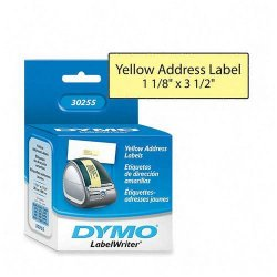 "DYMO - 30255 - Dymo Address Labels - Permanent Adhesive - 1 1/8"" Width x 3 1/2"" Length - Direct Thermal - Yellow - Paper - 130 / Roll - 130 / Box"