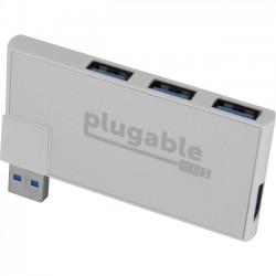 Plugable - USB3-HUB4R - Plugable Rotating 4-Port USB 3.0 Portable Bus Powered Hub - USB - External - 4 USB Port(s) - 4 USB 3.0 Port(s) - PC, Mac, Linux
