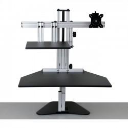 Ergo Desktop - ED-HK-BLK-FA - Ergo Desktop Hybrid Kangaroo Sit and Stand Workstation, Black, Fully Assembled - 16.5 Height x 24 Width - Desktop - Solid Steel - Black