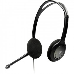 V7 - HA202-2NP - V7 Stereo Headset with Mic - Stereo - Black - Mini-phone - Wired - 32 Ohm - 20 Hz - 20 kHz - Over-the-head - Binaural - Supra-aural - 6 ft Cable