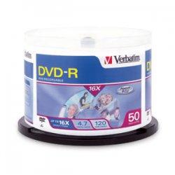 Verbatim / Smartdisk - 95455 - Verbatim DVD-R 4.7GB 16X DataLifePlus Shiny Silver Silk Screen Printable, Hub Printable - 50pk Spindle - 4.7GB - 50 Pack