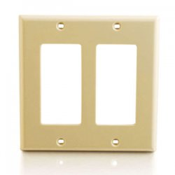 C2G (Cables To Go) - 03726 - C2G Two Decorative Style Cutout Double Gang Wall Plate - Ivory - Ivory