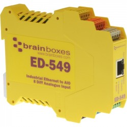 Brainboxes - ED-549-X20M - Brainboxes ED-549 Ethernet to Analogue I/O X20 Multipack - Twisted Pair - 1 x Network (RJ-45) - 1 x Serial Port - 10/100Base-TX - Fast Ethernet - Rail-mountable