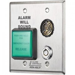 Alarm Controls - DE-1-3SEC - Alarm Controls DE-1 Push Button - Double Gang - Stainless Steel