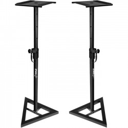 Pyle / Pyle-Pro - PSTND35 - Pyle Heavy Duty Telescoping Height Adjustment Monitor Speaker Stands (Pair) - 90 lb Load Capacity - Powder Coated Black - Metal