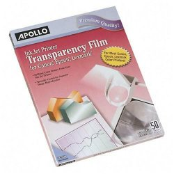 Apollo - VCG7031SE - Quick-Dry Color Inkjet Transparency Film w/Handling Strip, Letter, Clear, 50/Box