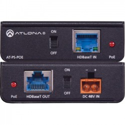 Atlona - AT-PS-POE - Atlona Power Over Ethernet Mid-Span Power Supply - 120 V AC, 230 V AC Input - 48 V DC Output - 1 Ethernet Input Port(s) - 1 PoE Output Port(s)