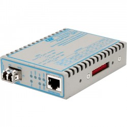 Omnitron - 4714-1 - FlexPoint 10/100/1000 Gigabit Ethernet Fiber Media Converter RJ45 LC Multimode 550m - 1 x 10/100/1000BASE-T; 1 x 1000BASE-SX; US Power Adapter; Lifetime Warranty