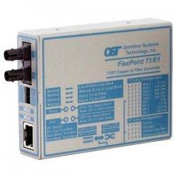 Omnitron - 4473-2 - FlexPoint T1/E1 Fiber Media Converter RJ48 ST Single-Mode 30km - 1 x T1/E1; 1 x ST Single-Mode; Univ. AC Powered; Lifetime Warranty