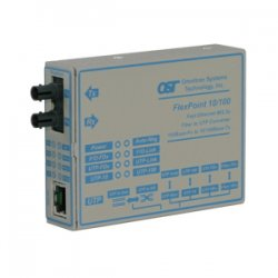 Omnitron - 4343-2 - FlexPoint 10/100 Ethernet Fiber Media Converter RJ45 ST Single-Mode 30km - 1 x 10/100BASE-TX; 1 x 100BASE-LX; Univ. AC Powered; Lifetime Warranty