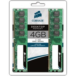 Corsair - VS4GBKIT800D2 - Corsair Value Select 4GB DDR2 SDRAM Memory Module - 4GB (2 x 2GB) - 800MHz DDR2-800/PC2-6400 - DDR2 SDRAM - 204-pin SoDIMM