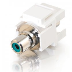 C2G (Cables To Go) / Legrand - 03342 - C2G Snap-In Green RCA F/F Keystone Insert Module - White - RCA