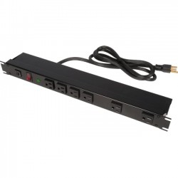 Rack Solution - PS19-F6-15-S-F - Rack Solutions 15A Power Strip, Front Outlets w/ Surge, 15ft Cord - NEMA 5-15P - 6 x NEMA 5-15R - 15 ft Cord - 125 V AC Voltage - Horizontal Rackmount