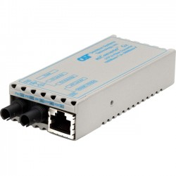 Omnitron - 1201-1-1 - miConverter 1000Mbps Gigabit Ethernet Fiber Media Converter RJ45 ST Single-Mode 12km - 1 x 1000BASE-T, 1 x 1000BASE-LX, US AC Powered, Lifetime Warranty