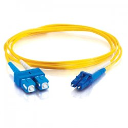 C2G (Cables To Go) - 14422 - C2G 8m LC-SC 9/125 OS1 Duplex Singlemode PVC Fiber Optic Cable (USA-Made) - Yellow - Fiber Optic for Network Device - LC Male - SC Male - 9/125 - Duplex Singlemode - OS1 - USA-Made - 8m - Yellow