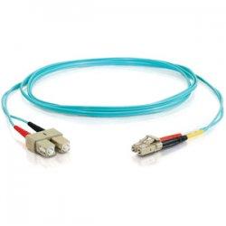 C2G (Cables To Go) - 21627 - C2G 30m LC-SC 10Gb 50/125 OM3 Duplex Multimode PVC Fiber Optic Cable (USA-Made) - Aqua - Fiber Optic for Network Device - LC Male - SC Male - 10Gb - 50/125 - Duplex Multimode - OM3 - 10GBase-SR, 10GBase-LRM - USA-Made - 30m -