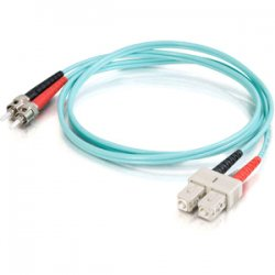 C2G (Cables To Go) - 21655 - 15m SC-ST 10Gb 50/125 OM3 Duplex Multimode PVC Fiber Optic Cable (USA-Made) - Aqua - Fiber Optic for Network Device - SC Male - ST Male - 10Gb - 50/125 - Duplex Multimode - OM3 - 10GBase-SR, 10GBase-LRM - USA-Made - 15m - Aqua