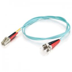 C2G (Cables To Go) - 21683 - 9m LC-ST 10Gb 50/125 OM3 Duplex Multimode PVC Fiber Optic Cable (USA-Made) - Aqua - Fiber Optic for Network Device - LC Male - ST Male - 10Gb - 50/125 - Duplex Multimode - OM3 - 10GBase-SR, 10GBase-LRM - USA-Made - 9m - Aqua