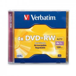 Verbatim / Smartdisk - 94520 - Verbatim DVD+RW 4.7GB 4X with Branded Surface - 1pk Jewel Case - 2 Hour Maximum Recording Time