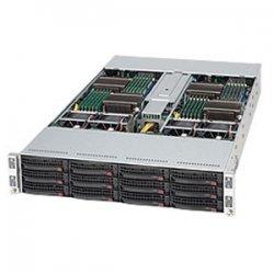 Supermicro - CSE-827T-R1200B - Supermicro SuperChassis SC827T-R1200B Rackmount Enclosure - 2U - Rack-mountable - 12 Bays - 1200W - Black
