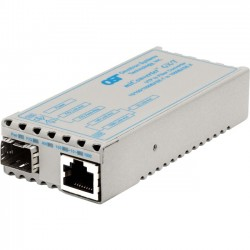 Omnitron - 1239-0-9 - miConverter 10/100/1000 Gigabit Ethernet Fiber Media Converter RJ45 SFP - 1 x 10/100/1000BASE-T; 1 x 1000BASE-X (SFP); No Power Adapter; Lifetime Warranty